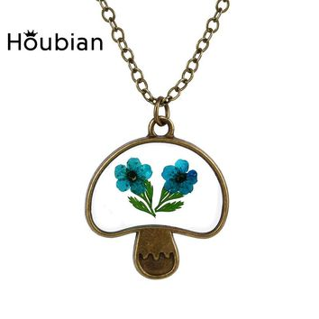 Trendy Lovely Women's Nature Glass Dried Leaves Flowers Mushroom pendants Necklace Vintage Design 5 Choice Handmade Craft Gifts