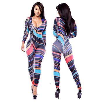 Summer 2016 New Style Sexy Jumpsuit Women Long sleeve African Tribal Printed Rompers Womens Sexy Casual Bodycon Elegant Bodysuit