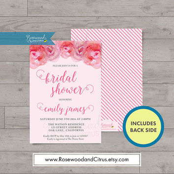 Watercolor Roses Bridal Shower Invitation, Pink Bridal Shower Printable, Floral Bridal Shower Printable Invite, Matching Wedding Printable
