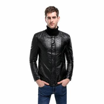 Fashion PU Leather Jacket Men's Quilted Pattern Faux-Leather Moto Jacket Coat leather jackets Casual Plus Size M-XXL
