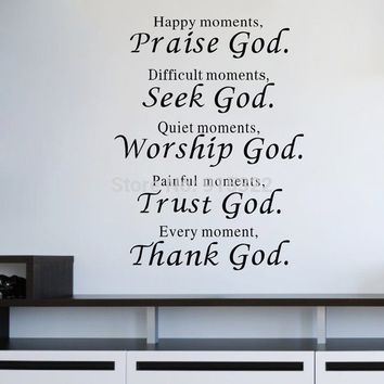 New Vinyl Words Quote poem Thank God Wall Sticker Art decal room decor removable