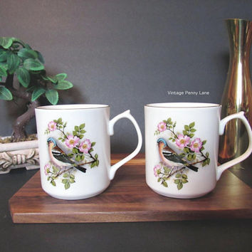 Vintage JASON WORKS Mugs Set, Coffee Cups, Bird / Floral, Made in England, Nanrich Pottery, Staffordshire