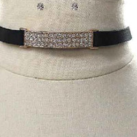 "14"" gold faux suede crystal 2.25"" long bar charm choker collar necklace .30"" wide earrings"