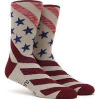 """New"" Socks Marled America Crew Socks - Mens Socks - Off White - One"