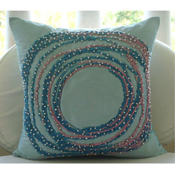 Adrift In Dreams - Throw Pillow Covers - 16x16 Inches Silk Pillow Cover with Cord Embroidery