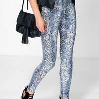 Harper Blue Snake Print Leggings