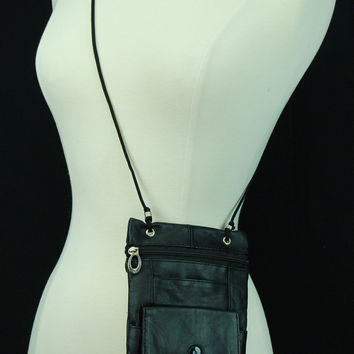 Genuine Leather Cross Body Bag With Front Button Pocket Black