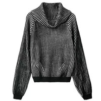 Fashion Turtleneck Loose Striped Hollow Sweater