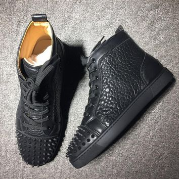 Cl Christian Louboutin Lou Spikes Mid Style #2176 Sneakers Fashion Shoes
