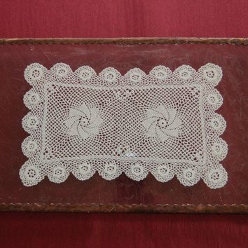 Antique style stained glass tray with lace doily by dalitglass