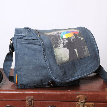 canvas messenger bag  shoulder bag  Messenger by PhotographyDream