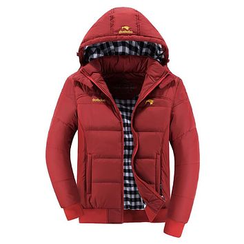 Winter Jacket Coat Men Solid Stylish Hooded Hat Detachable Thicken Warm Parka Male Cotton-padded Slim Fit Parkas