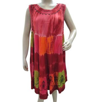Mogul Bohemian Beach Dress Pink Tie Dye Embroidered Hippie Summer Tank Dress - Walmart.com