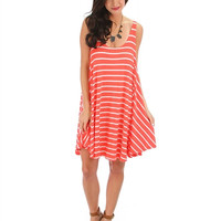 Striped Tank Swing Dress in Blush Or Coral