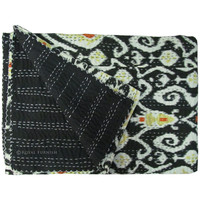 Queen Size Black Hand Stitched Ikat Kantha Quilt Throw Blanket
