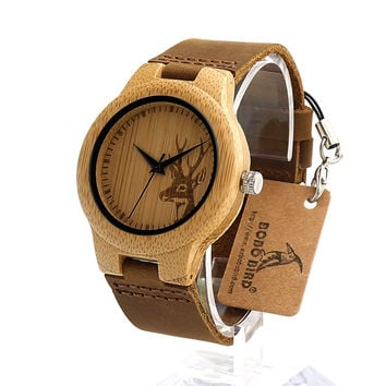BOBO BIRD  F29 Wooden Watch Ladies Engrave Deer Bamboo Dial Quartz Wristwatch with Genuine Leather Band in Gift Box