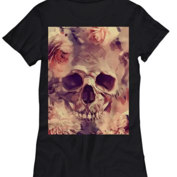 Flowers and Sugar Skull - Women's T-Shirt - Preshrunk 100% Cotton