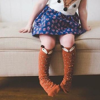 Cotton Baby Leg Warmers 1 Pair Unisex Baby Girl&Boy Knee High Fox Socks Kids Cute Cartoon Socks meias infantil