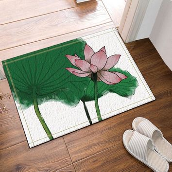 Autumn Fall welcome door mat doormat Traditional Chinese Painting Lotus Pattern Bath Rugs Bathroom Entryways Outdoor Indoor Front  60x40cm AT_76_7