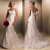 Sweetheart Ivory Bridal Wedding Dress with Lace Motifs Custom Size 2 4 6 8 10 12