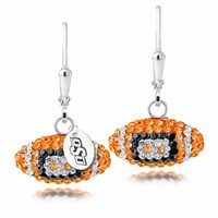 Oklahoma State University Swarovski Crystal Football Earrings. Free Shipping