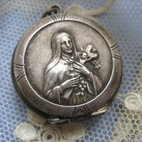 Alpaca St. Theresa Rosary Holder Locket     Circa 1930