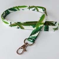 Pot Leaf Lanyard / Pot Leaves Keychain / Marijuana / Key Lanyard / ID Badge Holder / Fabric Lanyard / Cannabis / Gift Ideas