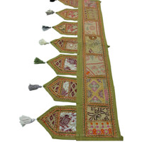 Green Indian Handmade Patchwork Window Tapestry Valance