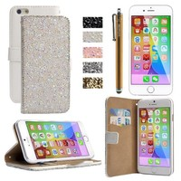 iPhone 6 Plus Case, HESPLUS Bling Shiny Paillette PU Leather Wallet Case with Card Slots Function for Apple iPhone 6 Plus 5.5 Inch (white)