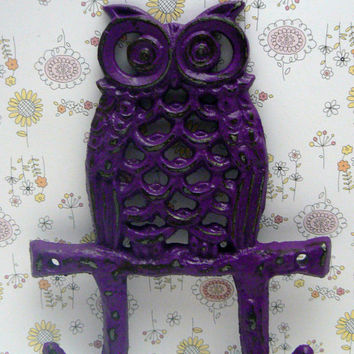 Owl Double Hook Country Chic Wall Decor Passionate Plum Purple Distressed Nautical Nursery Coat Jewelry Leash Hat Key Rustic Woodsy Hooks