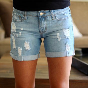 Light Wash Distressed Jean Shorts