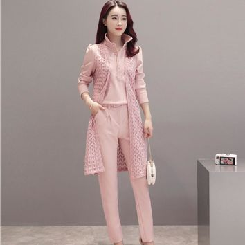 2017 new Women Casual Office Business Suits Formal Work Wear Sets Uniform Styles Elegant Pant Suits 3 pieces sets