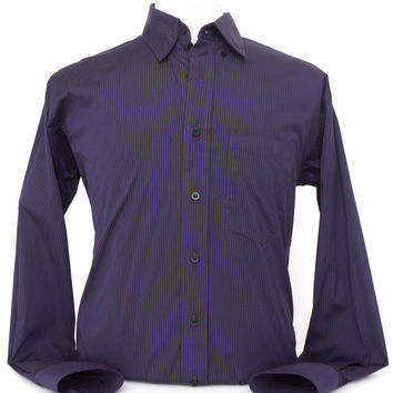 Men's Purple and Black Stripe Italian Cotton Western Shirt