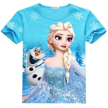 Baby Girls Frozen Girl T Shirt Girl Summer Cotton T-shirt 35E