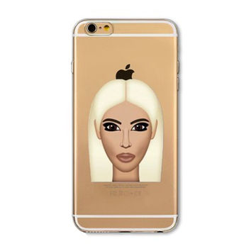 Funny Kim Kardashian Crying Face Emoji Kimoji Soft Clear Ultra Thin TPU Mobile Phone Back Cover Case Shell For iPhone 4 4s 5 5s 5C 6 6s 6 Plus 6s Plus
