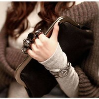 Beautiful Skulls Knuckle Rings Clutch Evening Bag