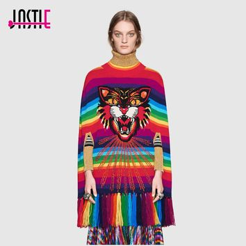 Jastie Angry Cat Rainbow Striped Knit Cape Sweater Tassels Hem Sequin Cape Silhouette Oversized Sweaters 2017 Winter Sweater