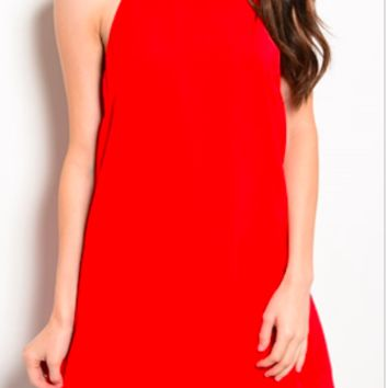 Red Dress with Open Back and Gold Detail