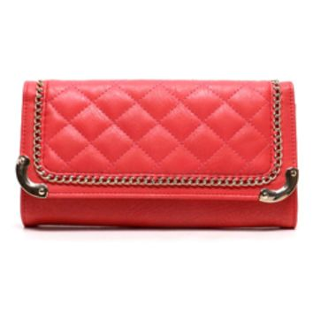 A Day At the Ranch Quilted Coral Clutch to Crossbody Purse
