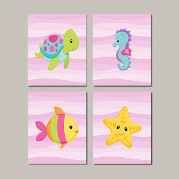 Sea Life Wall Art, Sea Animals, Girl Nursery Art, Under The Sea Nursery, Girl Bathroom Decor, Girl Nursery Prints, Set of 4 Prints Or Canvas