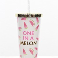 One in a Melon 24 oz Tumbler w/ Gold Lid {White}