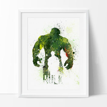 Hulk Poster, SuperHero Art, SuperHero Print, Watercolor Print, Splatter, Hulk Birthday, Nursery Gift Art Print Kids Decor Artwork - 32