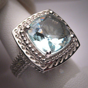 Vintage Aquamarine Wedding Ring Estate Art Deco 4cts