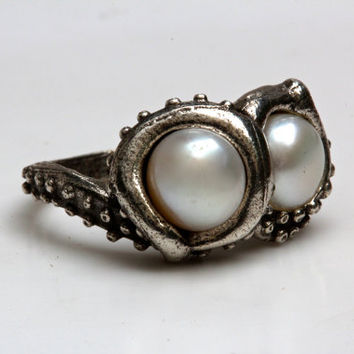 Double pearl octopus tentacle ring  .925 sterling made in NYC Blue Bayer Design