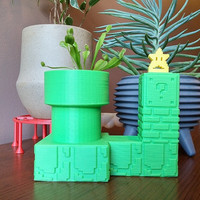 Super Mario Warp Pipe Self Watering Planter, 3D Printed