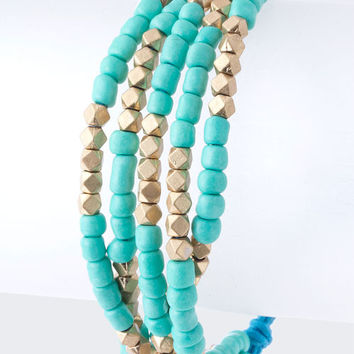 Boho Beaded String Fashion Jewelry Bracelet in Turquoise