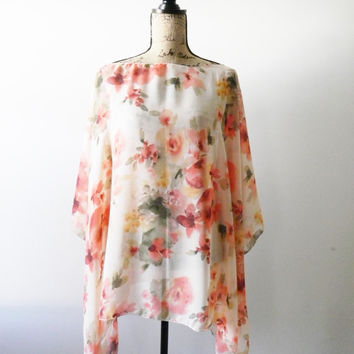 Chiffon Poncho/ Peach and Pink Florals/ Caftan Style top/ Swimsuit Cover Up/ Summer Poncho/ Floral Poncho