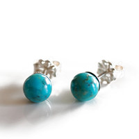 Small 925 Turquoise ball studs , sterling silver turquoise gemstone post earrings , 6mm blue turquoise ball stud earrings solid silver posts