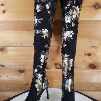 "Lexis Studded OTK  High Heel Thigh Boots 4.5"" Stiletto Black Metallic Floral"