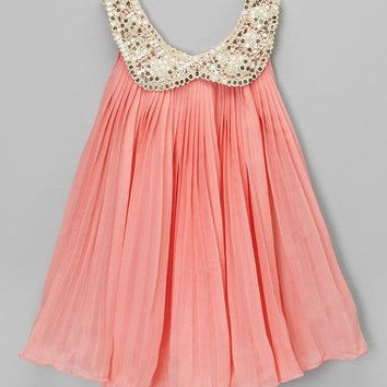 "The ""Lucinda"" Chiffon Gold Sequin Collar Girls Dress in Peachy Pink"